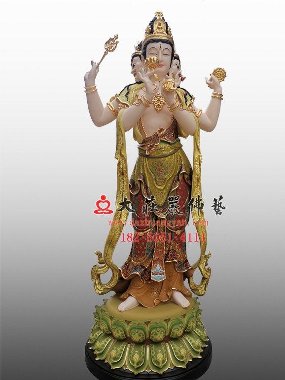 青颈观音铜雕佛像 青头观音塑像 三十三观音雕塑定制