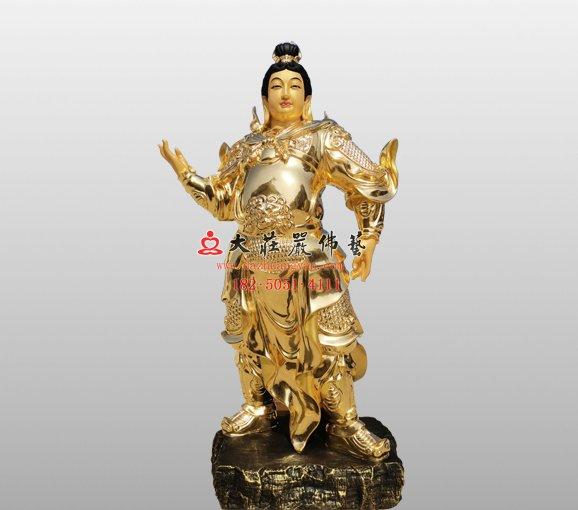 祇陀太子铜雕佛像 伽蓝菩萨大护法铜雕佛像定制