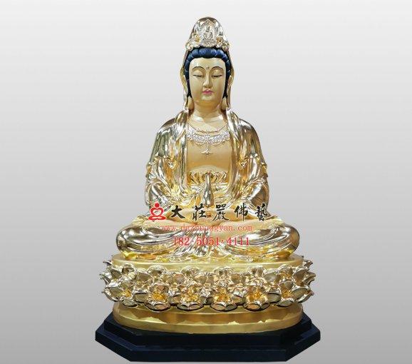 铜雕观世音菩萨像 观自在菩萨 西方三圣观音菩萨铜雕佛像