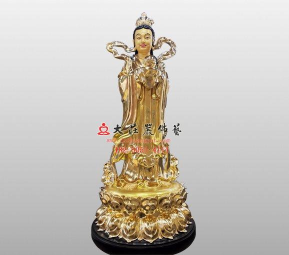 观音菩萨左胁待龙女塑像 铜雕龙女像 龙女佛像定制